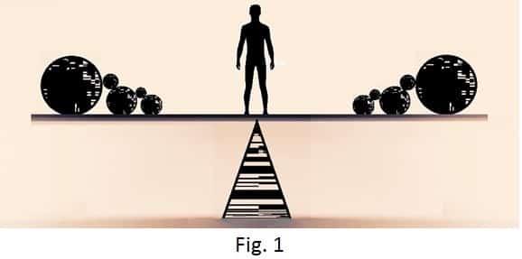 Ilustração de pessoa no meio de balança com bolas de cada lado