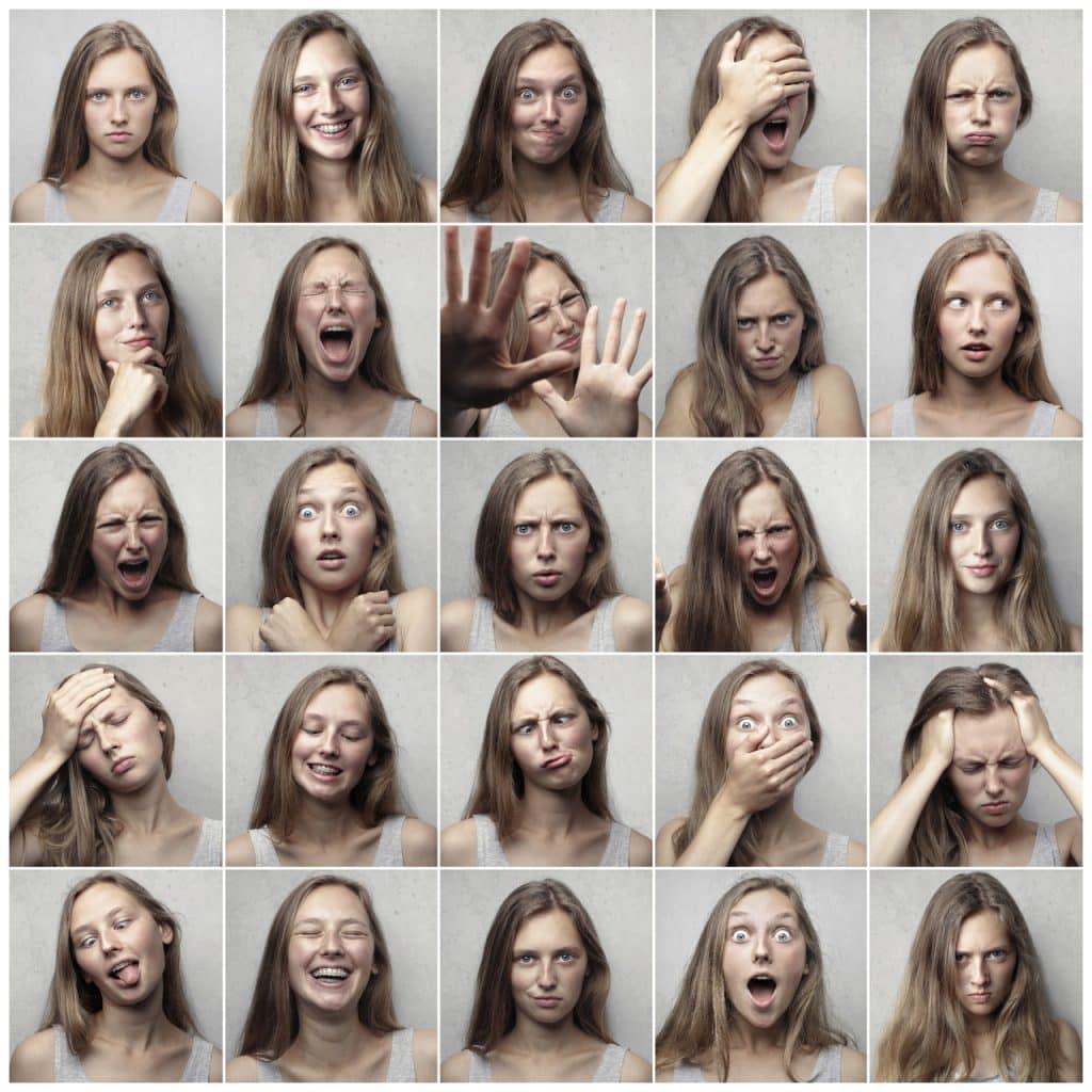 Imagem com uma mulher fazendo diversas expressões faciais demostrando emoções