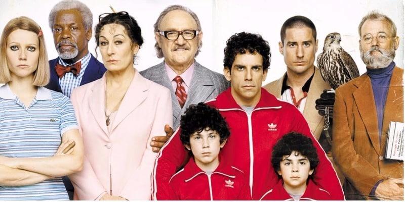 Elenco do filme Os Excêntricos Tenenbaums um ao lado do outro