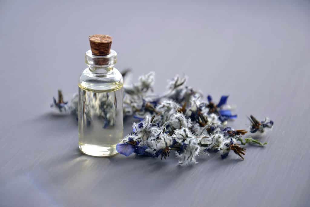 Imagem de um óleo essencial de lavanda sobre uma mesa. Ao lado do pequeno frasco de vidro, um ramo de lavanda.