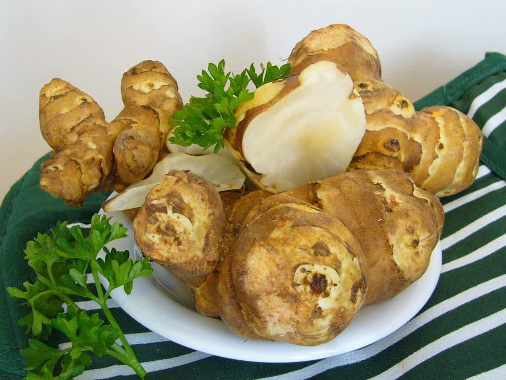 Imagem de muitos gengibres dispostos em um prato branco que está sobre uma toalha de mesa feita na cor verde e branca.
