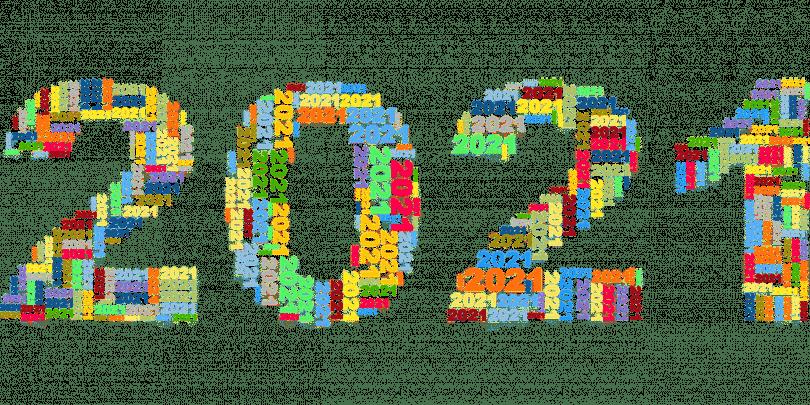 Imagem da palavra 2021 escrita em letras grandes. A palavra é formada por vários números representando o ano novo de 2021.