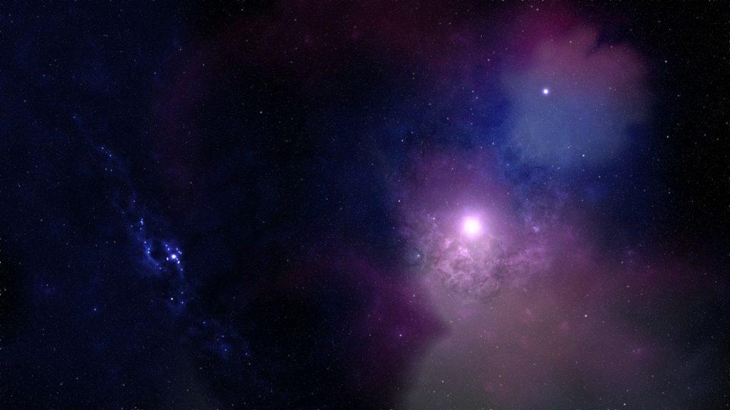 Nebulosa no espaço com luzes roxas e azuis.