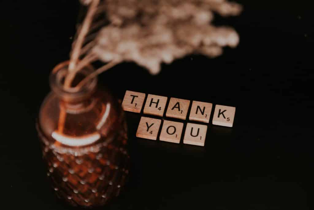"""Pequenos blocos de madeira formando a palavra """"thank you"""" ao lado de vaso com flor."""