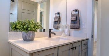 Pia de banheiro com espelho e vaso de flor