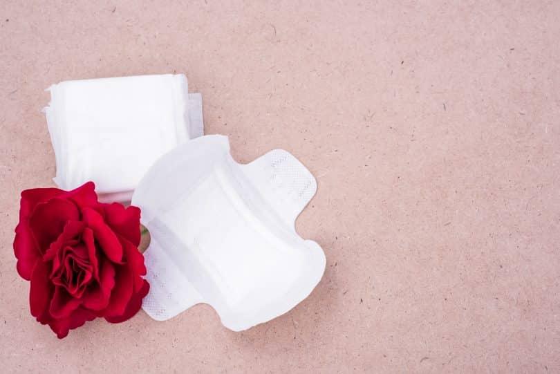 Imagem de dois absorventes femininos sem uso. Um aberto e o outro fechado. Ao lado deles uma rosa vermelha.