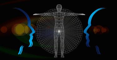 Silhueta de dois rostos humanos, e no meio da foto a silhueta do corpo humano.
