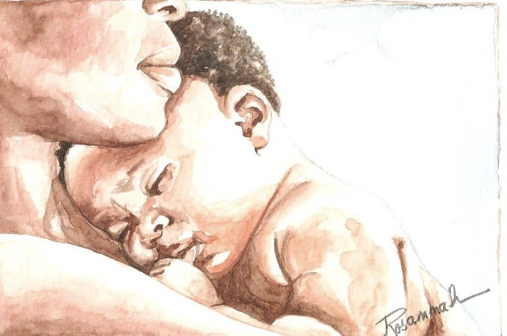 Pintura de mãe negra com seu filho