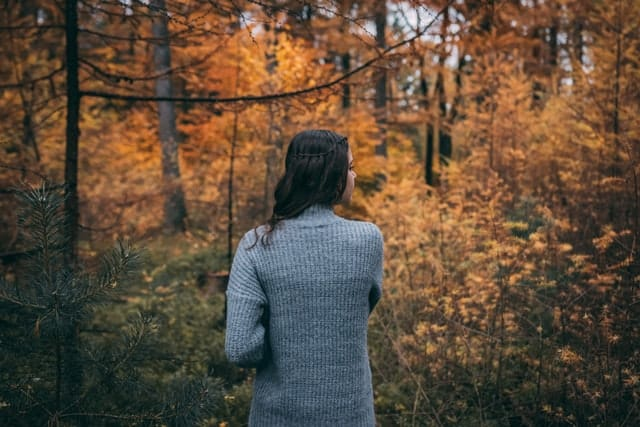 Mulher branca de cabelos castanhos, de costas numa floresta de folhas secas.