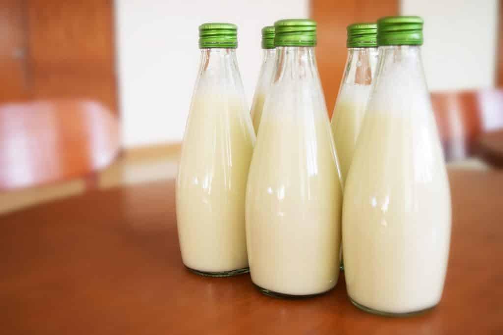Imagem de cinco garrafas cheias de leite de inhame.
