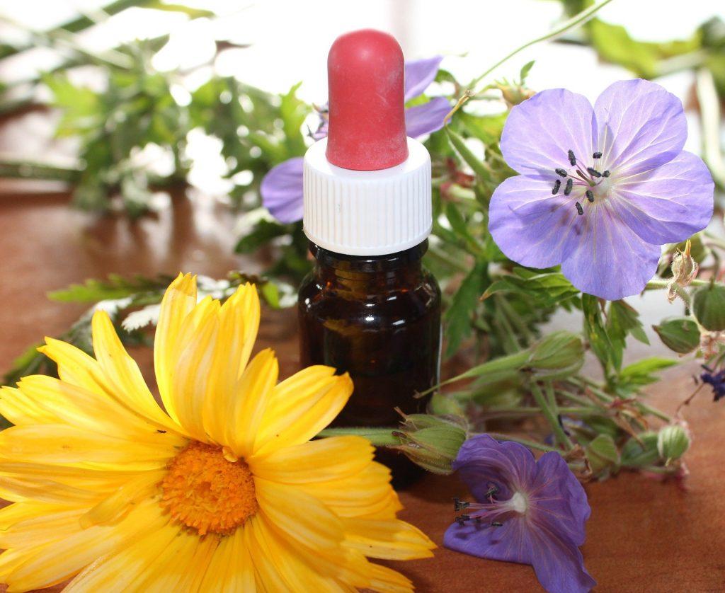Imagem de um frasco pequeno de floral. Ao lado vários tipos de flores nas cores amarela e lilás.