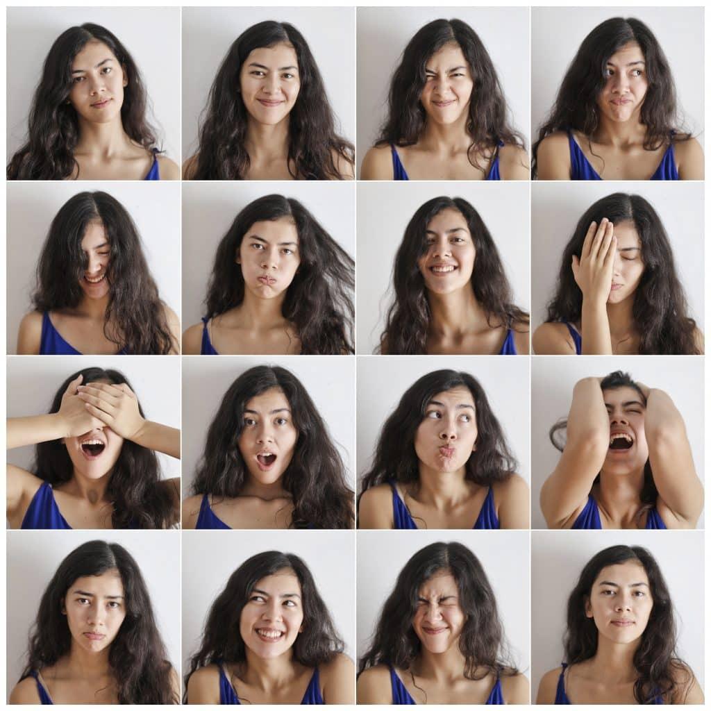 Várias fotos de um menina expressando emoções