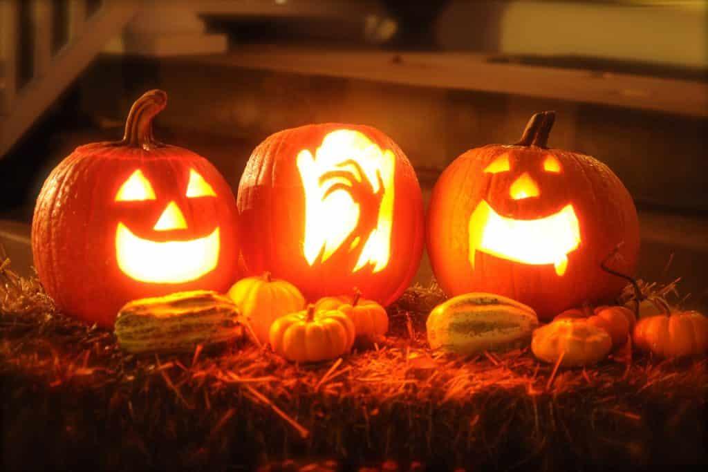 Imagem de três abóboras decoradas e iluminadas para enfeitar a comemoração do dia de halloween.