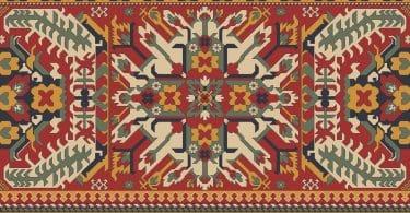 Ilustração de desenho persa em padrões.