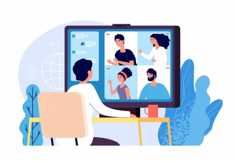 Ilustração de grupo de amigos em videoconferência.
