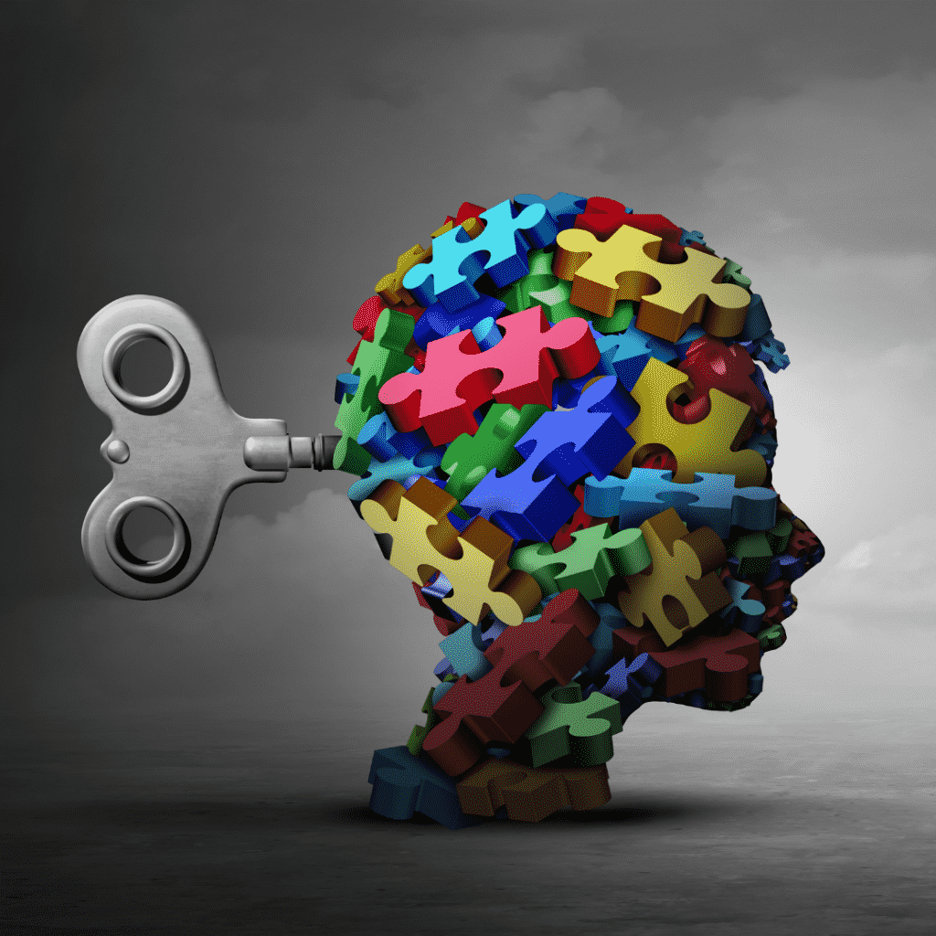 Imagem ilustrativa de uma cabeça humana como brinquedo de dar corda