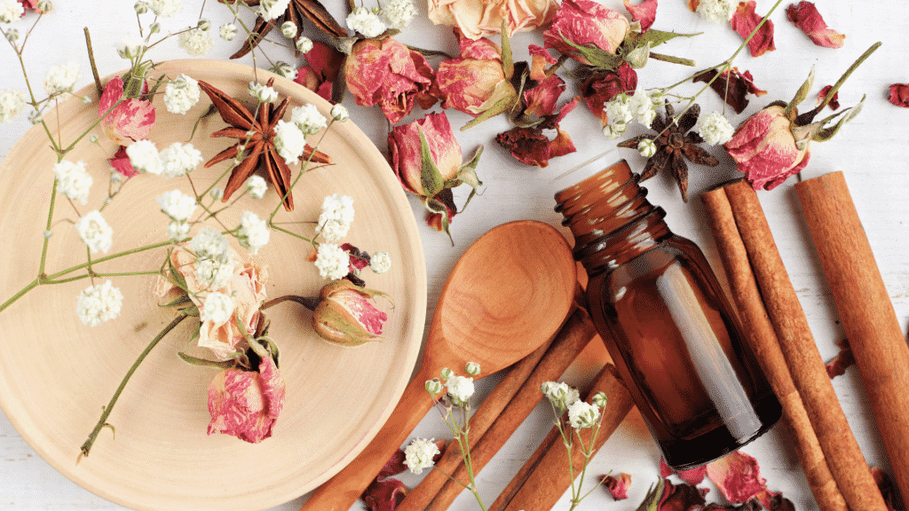 Canela, flores diversas e essências