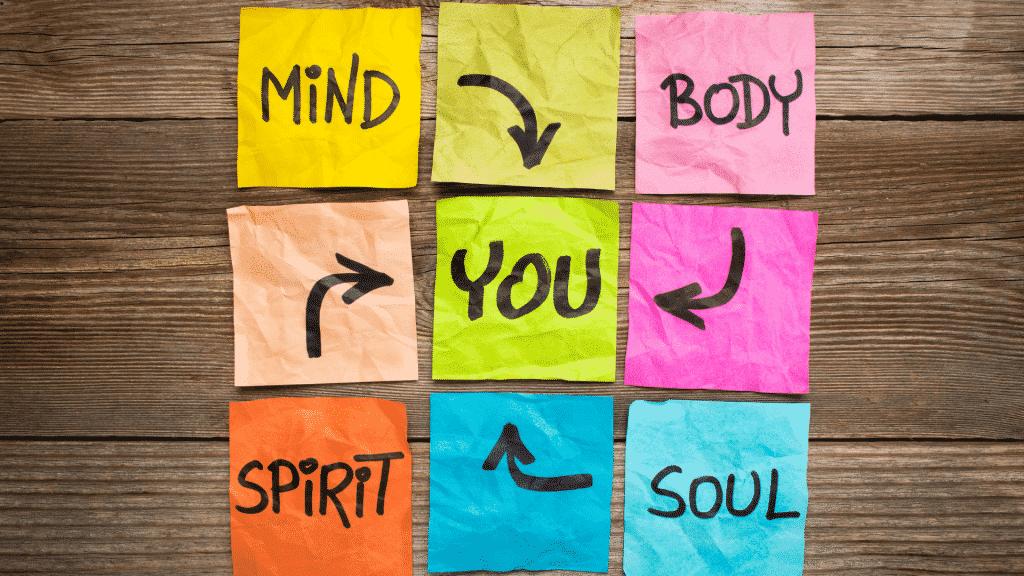 """Quadro com as palavras em inglês """"Mind"""" (mente), """"body"""" (corpo), """"spirit"""" (espírito), """"soul"""" (alma) e """"you"""" (você)."""