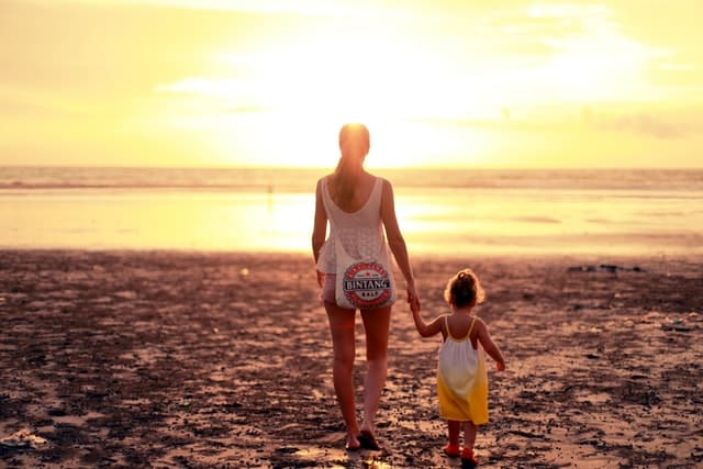 Mulher e menina brancas de mãos dadas na praia.