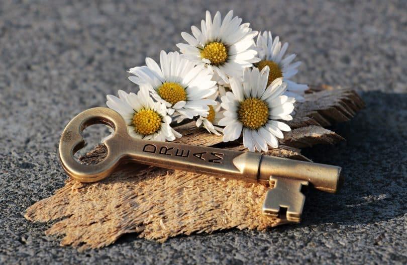 Imagem de uma chave dourada sobre um pedço de madeira decorado com margaridas brancas.