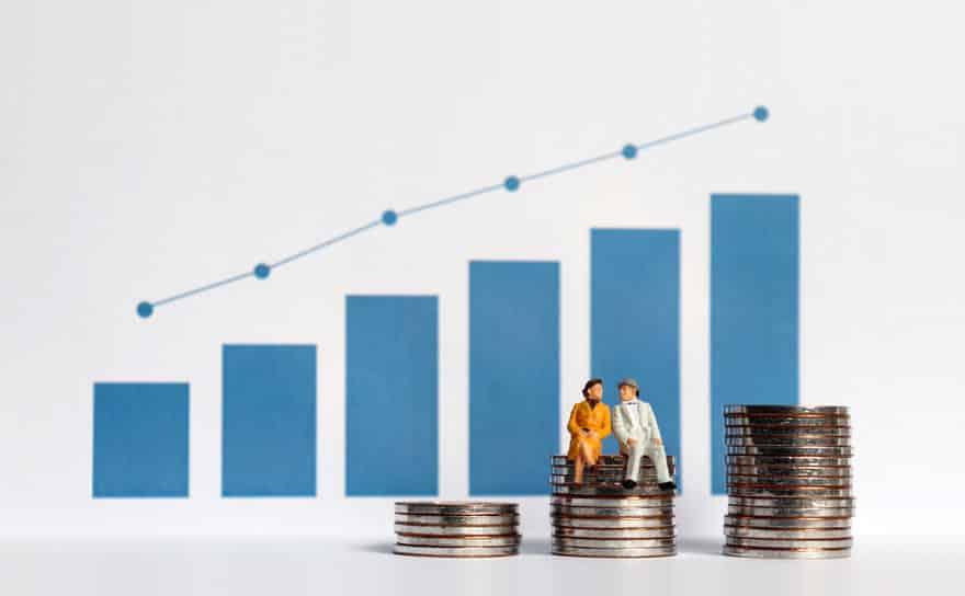 Gráfico mostrando crescimento financeiro