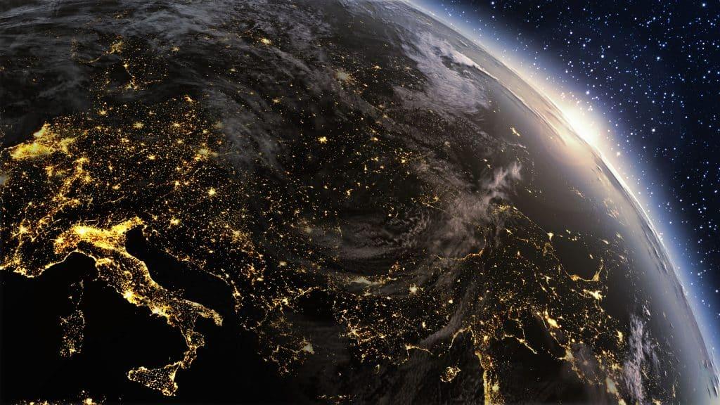 Imagem da Terra vista do espaço.