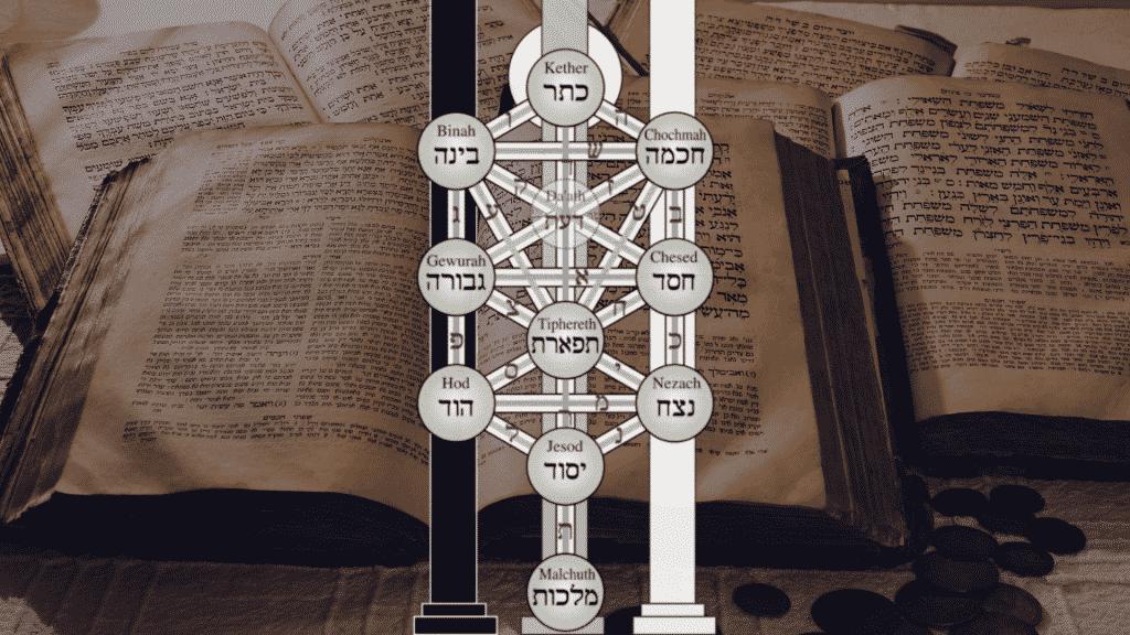 Imagem da árvore-da-vida da Cabalá sobre escrito judaicos.