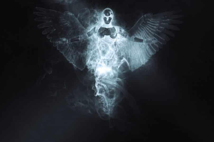 Imagem de fundo preto e em destaque os traços e a sombra de um anjo celestial, representando a grande fraternidade branca.