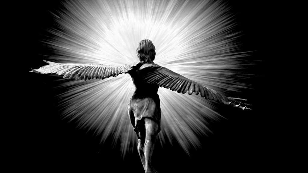 Imagem de fundo preto com o reflexo de uma luz branca muito forte. Em destaque um anjo de costas com as suas asas grandes e abertas.