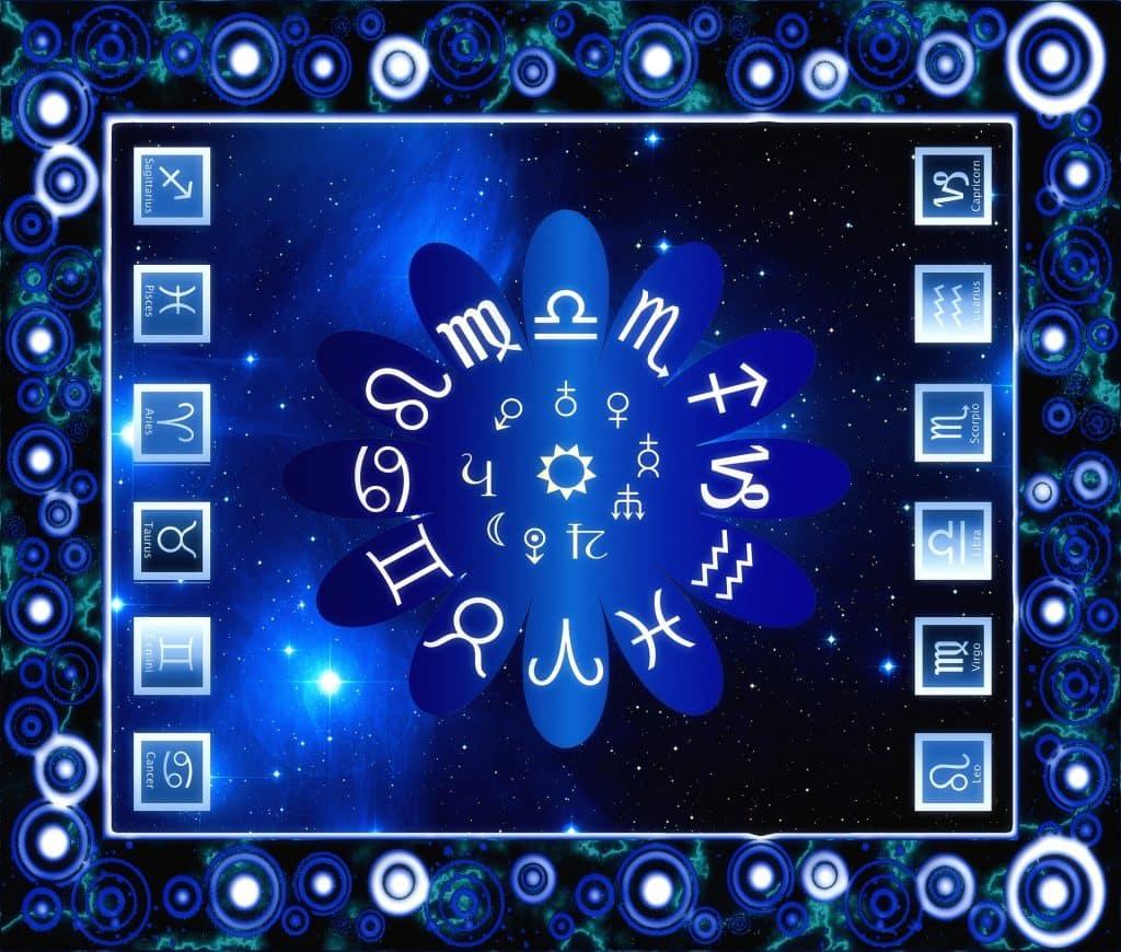 Imagem quadrada de fundo azul que traz os 12 símbolos dos signos que compõem o zodíaco.