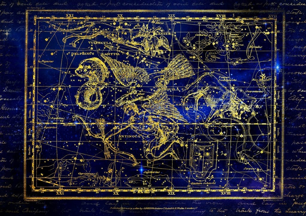 Linda imagem de fundo azul trazendo a constelação e todos os elementos astrológicos que a compõe.
