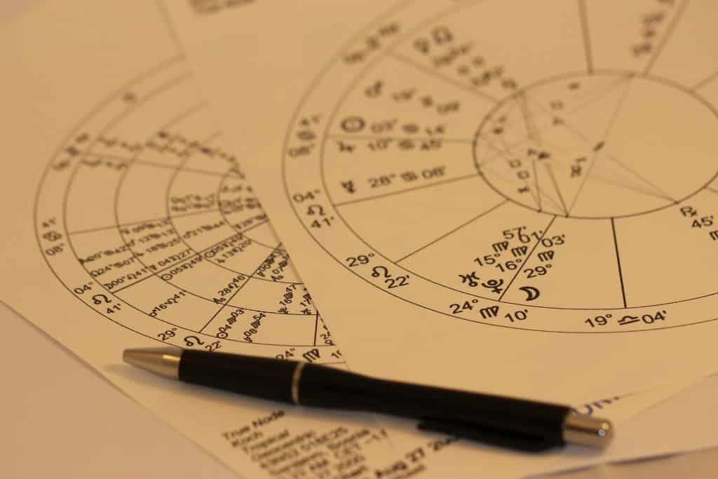 Imagem de duas folhas de papel sobre uma mesa onde está desenhado um mapa astral. Sobre eles, uma caneta de ponta grossa.