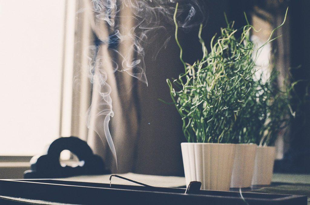 Imagem de um incenso de alecrim queimando sobre o incensário. Ao lado dele três vasos pequenos brancos dispostos sobre uma mesa de madeira. Nos vasos exista a plantação de alecrim.