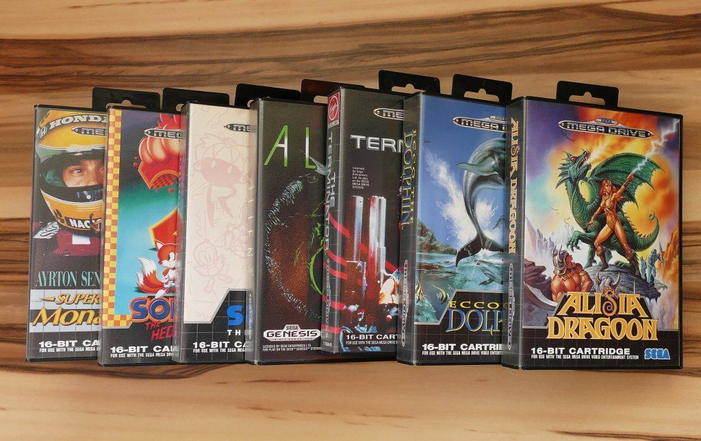 Imagem de vários jogos para videogame dispostos em um display específico para isso.