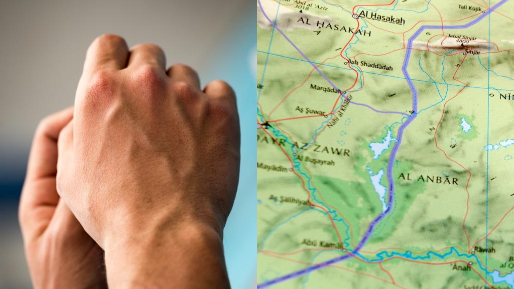 Mão humana sendo comparado ao relevo de um mapa mundi