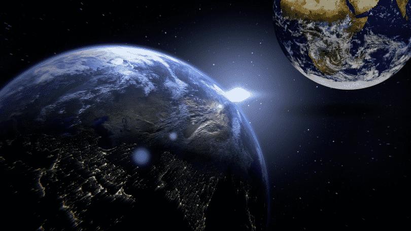 Imagem ilustrativa de dois planetas terras próximos