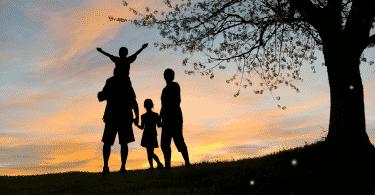 Silhueta de uma família observando o por do sol