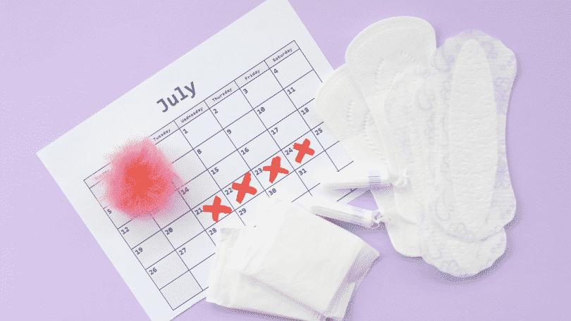 Calendário com ciclo menstrual marcado e absorventes