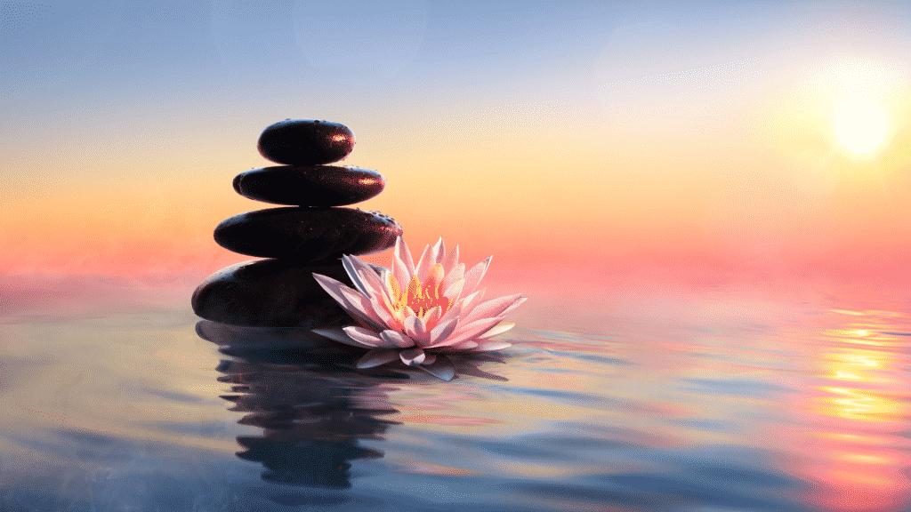 Pedras de massagem empilhadas junto uma flor de lótus sobre as águas