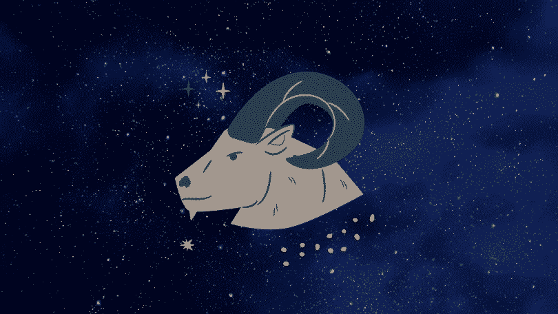 Céu estrelado com o símbolo do signo de Capricórnio