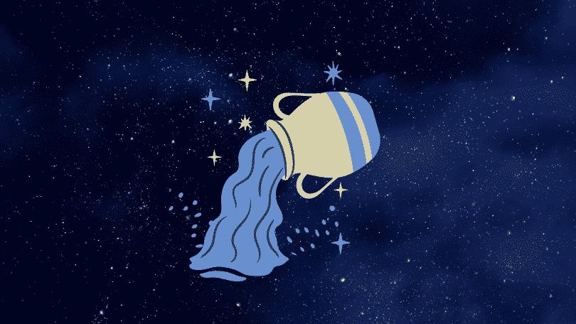 Céu estrelado com o símbolo do signo de Aquário
