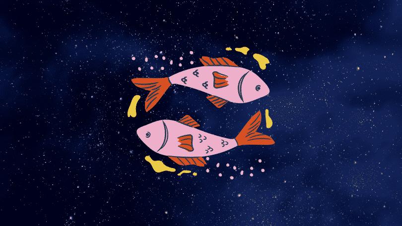 Céu estrelado com o símbolo do signo de Peixes