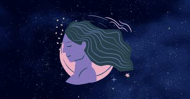 Céu estrelado com o símbolo do signo de Virgem