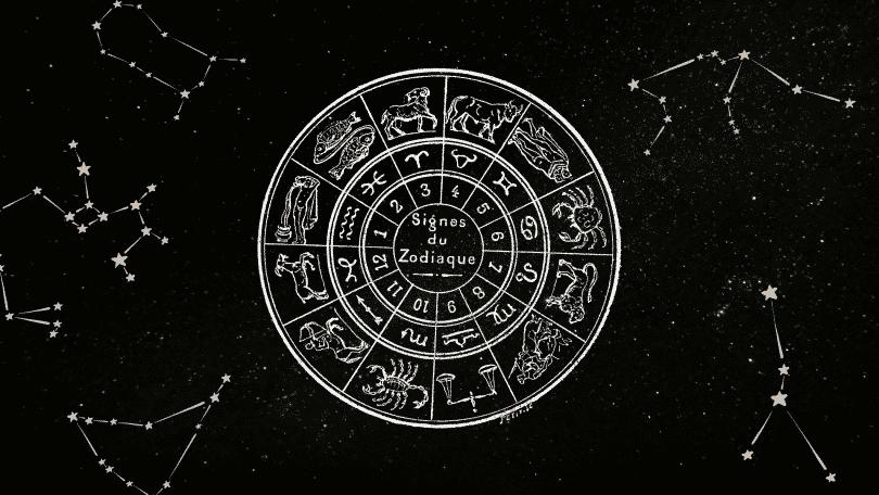 Ilustração de um círculo com o zodíaco e constelações