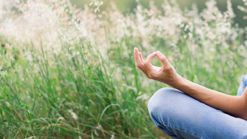 Pessoa meditando em um campo de flores