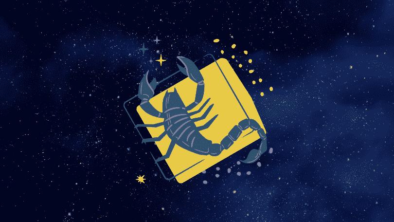 Céu estrelado com símbolo do signo de escorpião