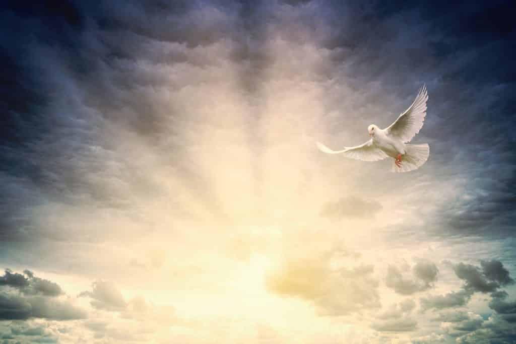 Imagem de um lindo céu com nuvens e muita luz vinda do sol, representando a sexta dimensão espiritual onde podemos encontrar a alma divina.