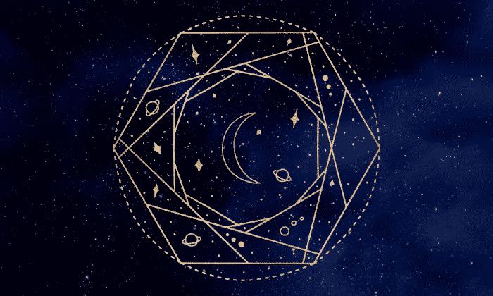 Imagem de um céu noturno com um desenho de astrologia na frente.