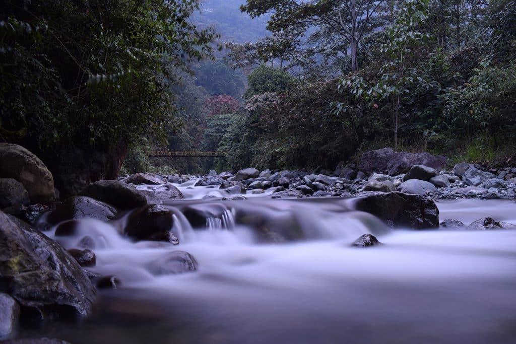 Imagem de um lindo rio no meio de uma floresta com muitas árvores e pedras, representando a segunda dimensão espiritual formada pelo reino vegetal e animal.