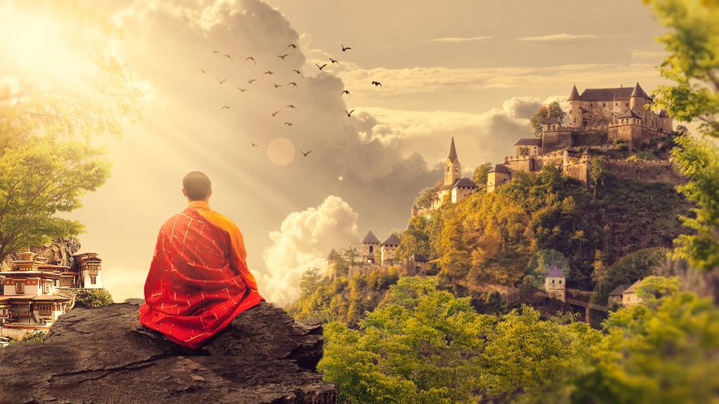 Monge meditando no templo observando as montanhas